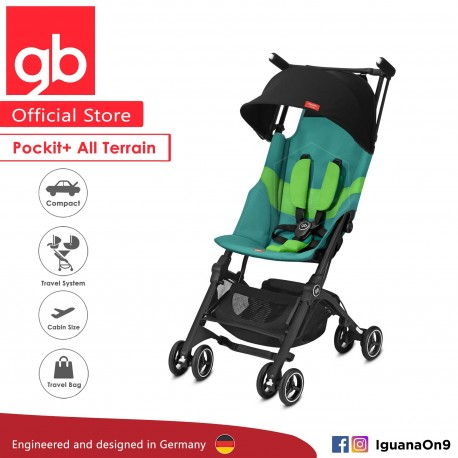 [Official Store] GERMANY gb Pockit Plus ALL TERRAIN (Laguna Blue) - World Lightweight Cabin Size Stroller with Rec