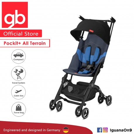 gb Pockit Plus All-Terrain (Night Blue) - World Lightweight Cabin Size Stroller with Reclining Seat [Official Store] 2019