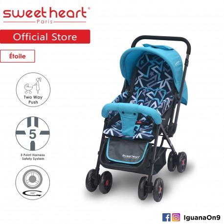 Sweet Heart Paris ST220 Etoile Stroller with 8pcs Wheels and Reversible Handlebar (Star Teal)
