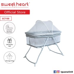 Sweet Heart Paris Foldable Baby Bed Cot with Rocker Function and Storage Bag (Grey)