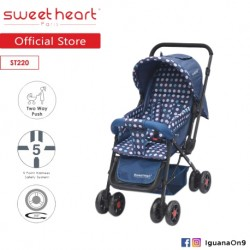 Sweet Heart Paris ST220 Stroller with 8pcs Wheels and Reversible Handlebar (Dot Blue)