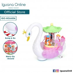 Iguana Online Miniature Colourful Musical Swan Merry-Go-Round Carousel with Lights and Rotatable Win