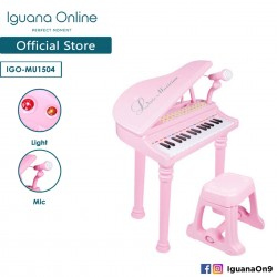 Iguana Online Miniature Learning Musical Electronic Organ Piano Keyboard With Recordable Microphone (Pink)