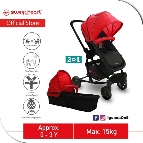 Sweet Heart Paris VARENNE 2 in 1 Reversible and Convertible Travel System Stroller ST516 with Carryc (Red)