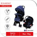 Sweet Heart Paris VOYAGES One Hand Folding Travel System Stroller with EVA Wheels (Blue)