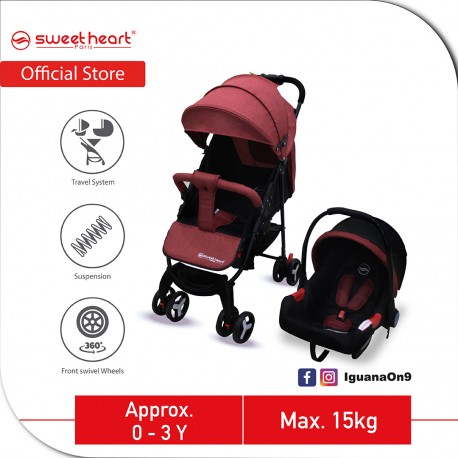 Sweet Heart Paris VOYAGES One Hand Folding Travel System Stroller with EVA Wheels (Red)
