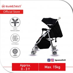 Sweet Heart Paris STMINO Compact Size Stroller with 8 EVA Wheels and 5 Point Harness (Black)