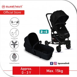 Sweet Heart Paris VARENNE 2 in 1 Reversible and Convertible Travel System Stroller ST516 with Carryc (Black)