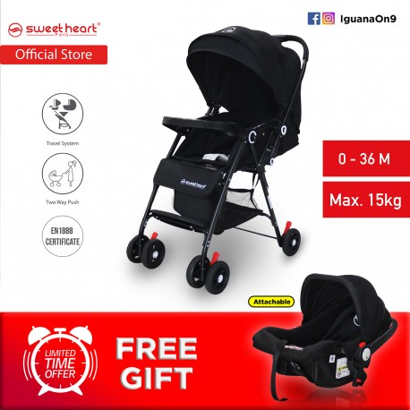 Sweet Heart Paris 2 in 1 ST88T Travel System Stroller with Two Way Push (Black)