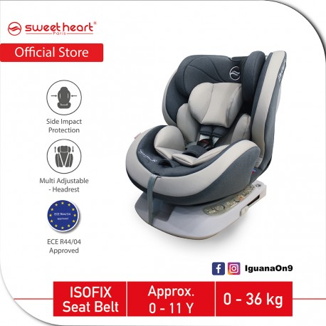 Sweet Heart Paris Group 0123 CS569 Car Seat Booster (Meteor Grey) with ISOFIX ECE R44/04 Verified