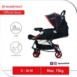 Sweet Heart Paris Aluminium 2 in 1 Stroller Rocker Cradle NEW UPGRADED ST230 (Black Red) with Adjust
