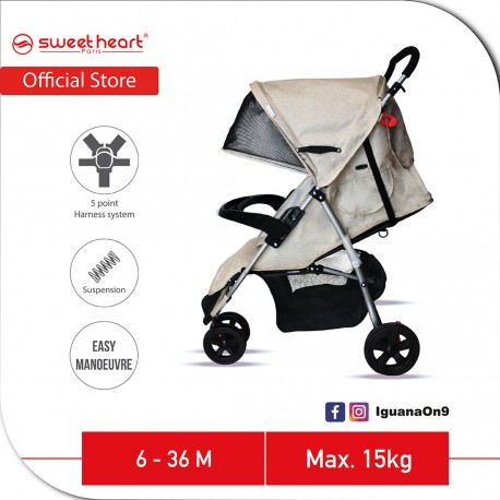 Sweet Heart Paris 3 Wheels Compact Fold Stroller ST310 with Easier Maneuvering and Maximum Mobility (Creamy White)