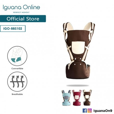 Iguana Online Hip Seat Cotton Soft Baby Carrier BBS102 with Four Seasons Breathable (Brown)