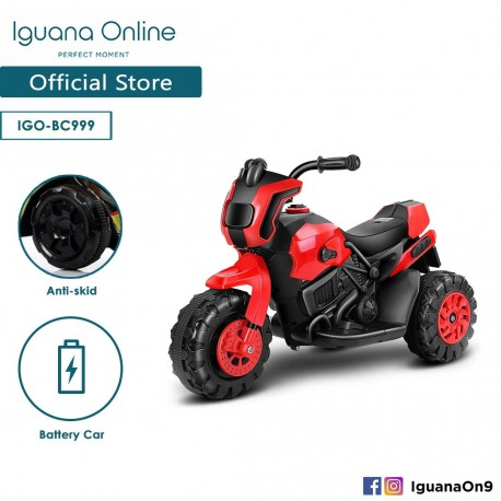 Iguana Online Kids Electrical Powered Motorcycle Toy 3 Training Wheel Children with LED Music BC999 (Red)