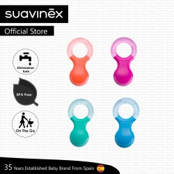 Suavinex BPA Free 2-4 Months Newborn Silicone Teether Dishwasher Free On The Go (Assorted Colours)