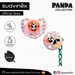 Suavinex Panda Collection BPA Free 6 to 18 Months Anatomical Silicone Soother Pacifier Clip Set (PIn