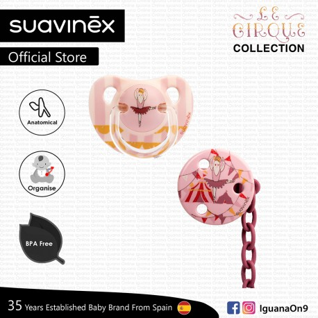 Suavinex Circus Collection BPA Free 6-18 Months Anatomical Silicone Soother Pacifier Clip Set (Pink
