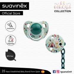 Suavinex Circus Collection BPA Free 6-18 Months Anatomical Silicone Soother Pacifier Clip Set (Green Strongman)