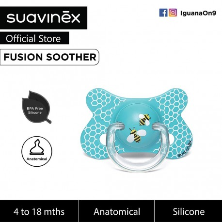 Suavinex Fusion BPA Free 4 to 18 Months Anatomical Silicone Soother (Teal Honeycomb)