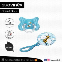 Suavinex Fusion Collection BPA Free 4-18m Months Oval Soother Pacifier Clip Set (Blue Bee)