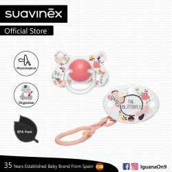 Suavinex Fusion Collection BPA Free 4-18m Months Oval Soother Pacifier Clip Set (Pink Butterfly)