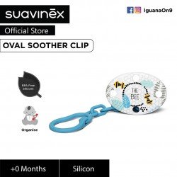 Suavinex Fusion Collection BPA Free 0+ Months Oval Soother Pacifier Clip (Blue Bee)