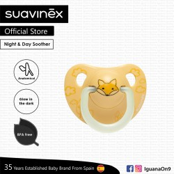 Suavinex Night and Day Collection BPA Free 0 to 6 Months Anatomical Silicone Soother Pacifier (Yello