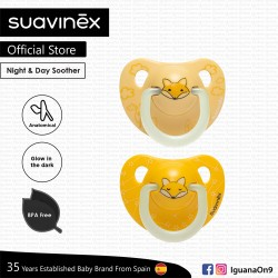 Suavinex Night and Day Collection BPA Free 6 to 18 Months Anatomical Silicone Soother Pacifier (Yell