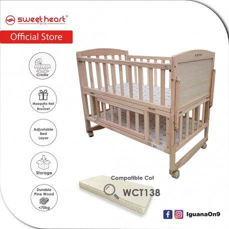 Sweet Heart Paris WCT189 Pine Wood Multi Functional Baby Wooden Cot with Height Adjustable Layer