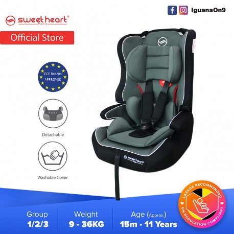 Sweet Heart Paris CS257 Safety Car Seat Booster (Black Grey) with Side Protection