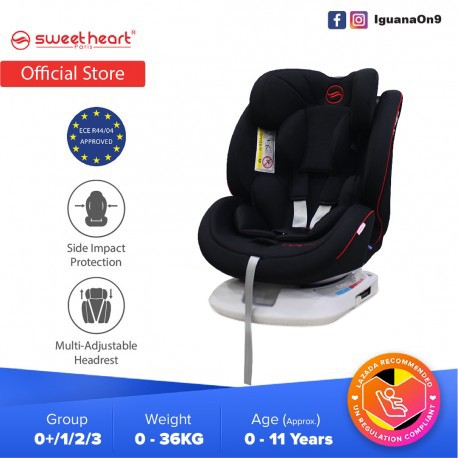Sweet Heart Paris Group 0123 CS569 Car Seat Booster (Jade Black) with ISOFIX ECE R44/04 Verified