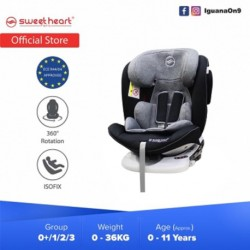 Sweet Heart Paris Group 0/1/2/3 CSQ5 PLUS ISOFIX Car Seat 360 SWIVEL Rotation ECE R44/04 Certified (Shadow Grey)