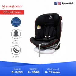 Sweet Heart Paris Group 0/1/2/3 CSQ5 PLUS ISOFIX Car Seat 360 SWIVEL Rotation ECE R44/04 Certified (Sport Black)
