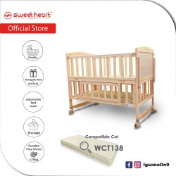 Sweet Heart Paris Multi Functional Baby Wooden Cot with Height Adjustable Layer