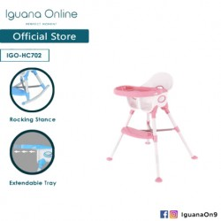 Iguana Online Multifunctional Adjustable Portable Convenient Feeding Dining Space Friendly High Chair with Tray (Pink)