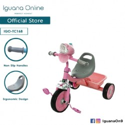 Iguana Online Cute Multifunctional Children Tricycle Toys with Headlight and Back Storage Basket TC168 (Pink)