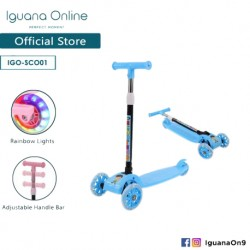Iguana Online Highly Adjustable 3 Wheels Stylish Foldable Portable All Terrain Scooter with Light Wheels SCO01 (Blue)