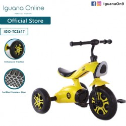 Iguana Online Sport Multifunctional  High Grade Carbon Steel Children Tricycle with Anti Skid Pedal (Yellow)