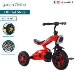 Iguana Online Sport Multifunctional  High Grade Carbon Steel Children Tricycle with Anti Skid Pedal (Red)