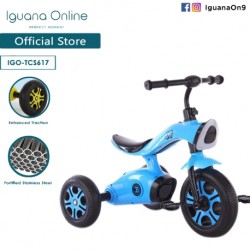 Iguana Online Sport Multifunctional  High Grade Carbon Steel Children Tricycle with Anti Skid Pedal (Blue)