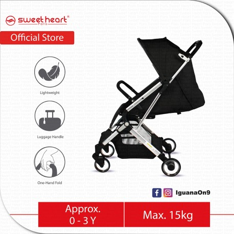 Sweet Heart Paris Stroller Compact ST LUX 2 with Pull-up Luggage Handle Black