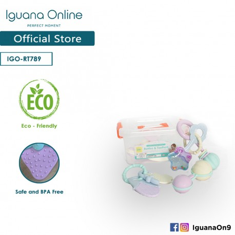 Iguana Online (5 units) BPA Free Lead Free Safe Baby Soft Rattle Teether Toys for Newborn RT7897
