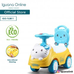 Iguana Online Cute Kitty Cat with Smart Educational Steering Wheels Ride On Car Tolo Car (Yellow)