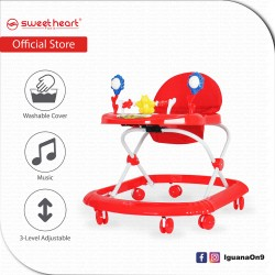 Sweet Heart Paris Baby Walker with Cute Toys Music Activity Tray Buttons BW1212F Red
