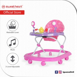 Sweet Heart Paris Baby Walker with Cute Toys Music Activity Tray Buttons BW1212F (Pink)