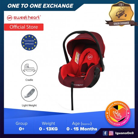 Sweet Heart Paris Group 0+ CS375 Car Seat Carrier with Adjustable Canopy ECE R44/04 Verified (2020 Red)