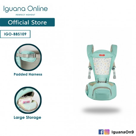 Iguana Online Hip Seat Baby Carrier with Four Seasons Breathable BBS109 (Teal)