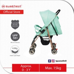 Sweet Heart Paris Compact Size Stroller with 8 Eva Wheels (Teal)