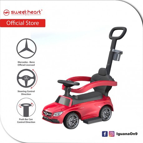 Sweet Heart Paris TL615W 3 in 1 Mercedes-Benz Ride on Tolo Car with Handlebar Toys (Red)