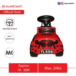 Sweet Heart Paris English Musical Ride On Car Tolo Car Jeep Macho Tough Masculine Non- Slip Wheels TL558 (Red)